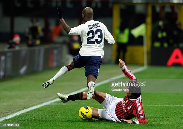 Alessandro Nesta of AC Milan and Victor Ibarbo of Cagliari Calcio compete for the ball during the Serie A match between AC Milan and Cagliari Calcio...