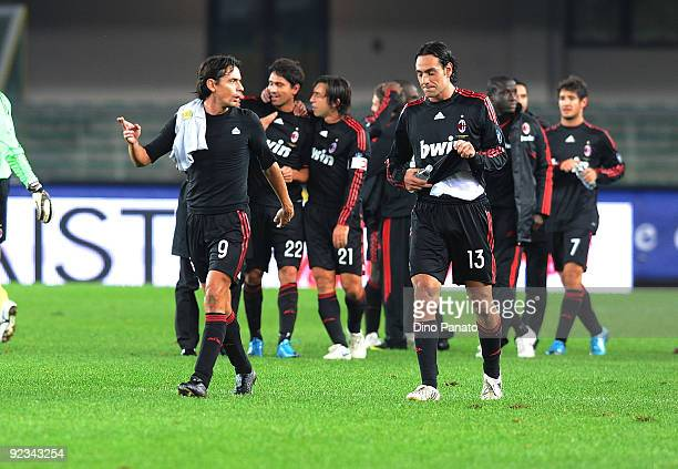 Alessandro Nesta of AC Milan celebrate victory with Filippo Inzaghi after the Serie A match between AC Chievo Verona and AC Milan at Stadio...