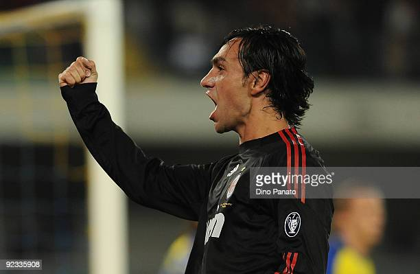 Alessandro Nesta of AC Milan celebrates after scoring their first goal during the Serie A match between AC Chievo Verona and AC Milan at Stadio...