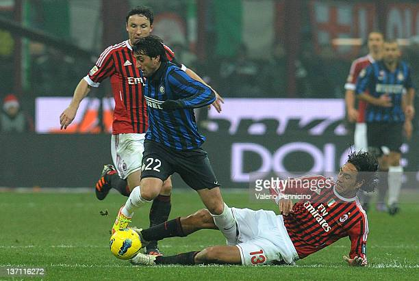 Alessandro Nesta of AC Milan challenges Diego Milito of FC Internazionale Milano during the Serie A match between AC Milan and FC Internazionale...