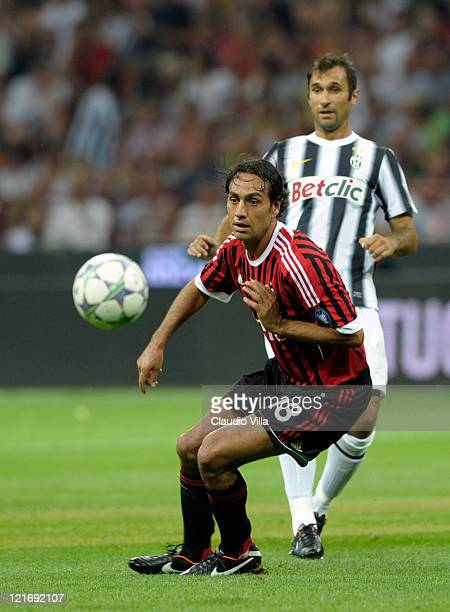 Alessandro Nesta of AC Milan during the Berlusconi Trophy match between AC Milan and Juventus FC at Giuseppe Meazza Stadium on August 21 2011 in...