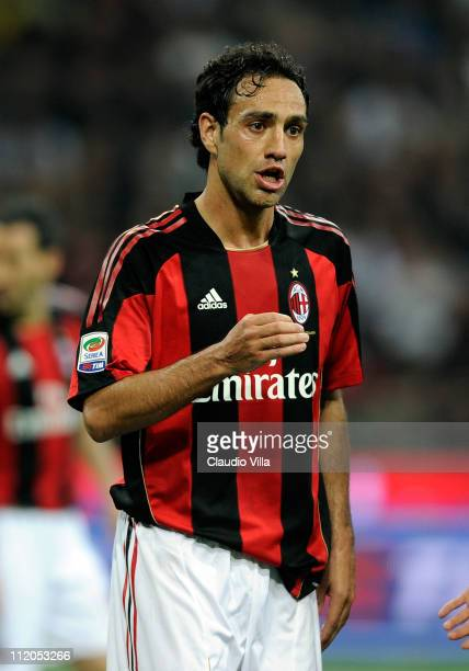Alessandro Nesta of AC Milan during the Serie A match between AC Milan and FC Internazionale Milano at Stadio Giuseppe Meazza on April 2 2011 in...