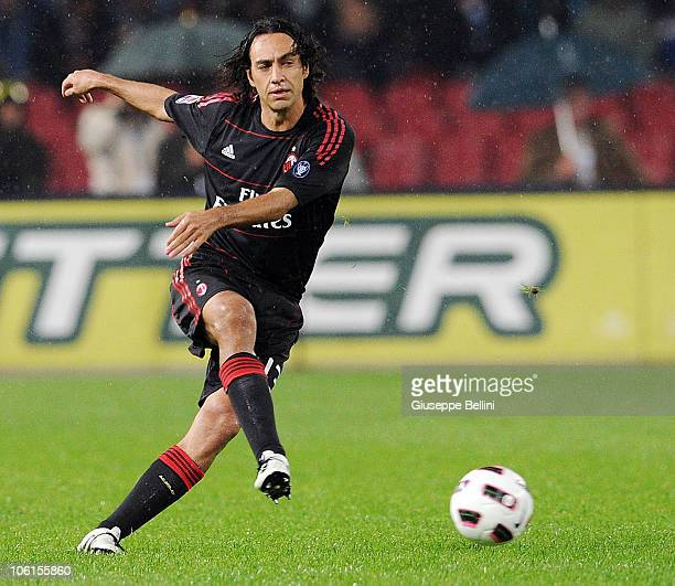 Alessandro Nesta of AC Milan in action during the Serie A match between SSC Napoli and AC Milan at Stadio San Paolo on October 25 2010 in Naples Italy