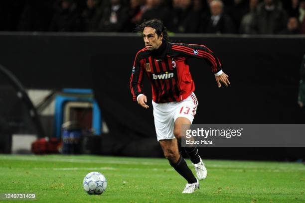 Alessandro Nesta of AC Milan in action during the UEFA Champions League Round of 16 second leg match between AC Milan and Arsenal at the Stadio...