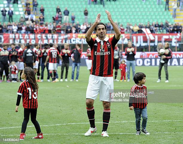 Alessandro Nesta of AC Milan salutes the fans after his last game for AC Milan after the Serie A match between AC Milan and Novara Calcio at Stadio...