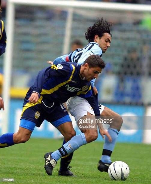 Alessandro Nesta of Lazio and Adrian Mutu of Verona during a SERIE A 20th Round League match between Lazio and Verona played at the Olympic stadium...