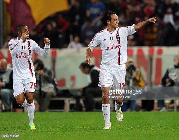 Alessandro Nesta of Milan celebrates after scoring the goal 12 during the Serie A match between AS Roma and AC Milan at Stadio Olimpico on October 29...