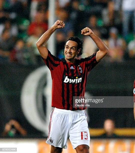 Alessandro Nesta of Milan celebrates during the Serie A match between Siena and Milan at the Artemio Franchi stadium in Siena