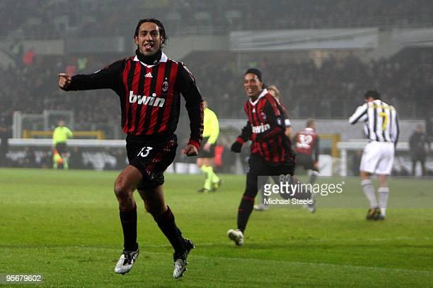 Alessandro Nesta of Milan celebrates scoring the opening goal during the Juventus v AC Milan Serie A match at the Stadio Olimpico di Torino on...