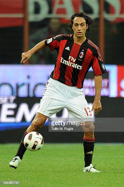 Alessandro Nesta of Milan in action during the Serie A match between Milan and Genoa at Stadio Giuseppe Meazza on September 26 2010 in Milan Italy