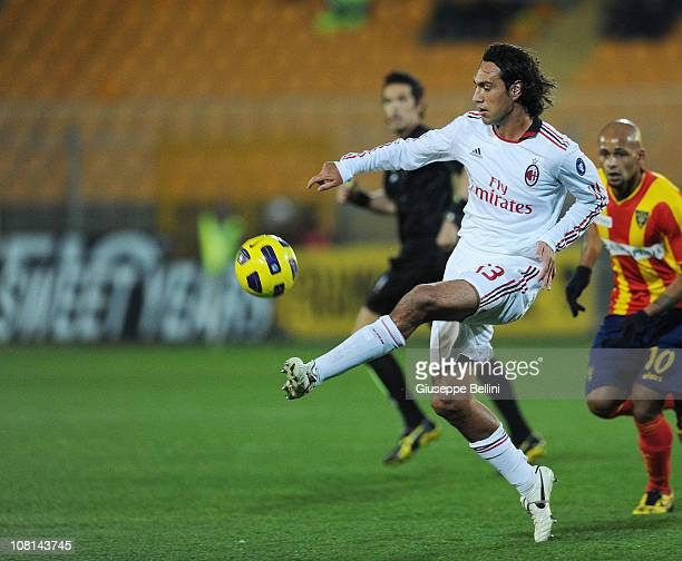 Alessandro Nesta of Milan in action during the Serie A match between Lecce and Milan at Stadio Via del Mare on January 16 2011 in Lecce Italy