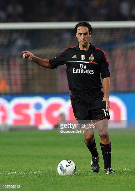 Alessandro Nesta of Milan in action during the Serie A match between SSC Napoli and AC Milan at Stadio San Paolo on September 18, 2011 in Naples,...