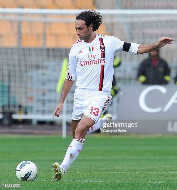 Alessandro Nesta of Milan in action during the Serie A match between US Lecce and AC Milan at Stadio Via del Mare on October 23 2011 in Lecce Italy