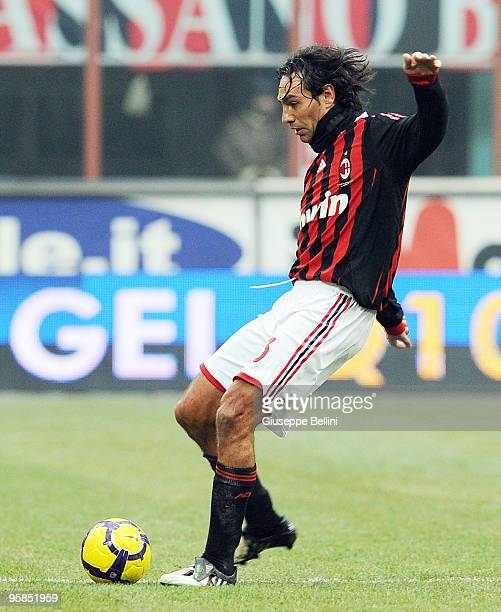 Alessandro Nesta of Milan in action during the Serie A match between Milan and Siena at Stadio Giuseppe Meazza on January 17 2010 in Milan Italy