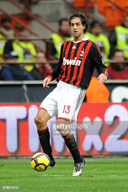 Alessandro Nesta of Milan in action during the Serie A match between Milan and Atalanta at Stadio Giuseppe Meazza on February 28 2010 in Milan Italy