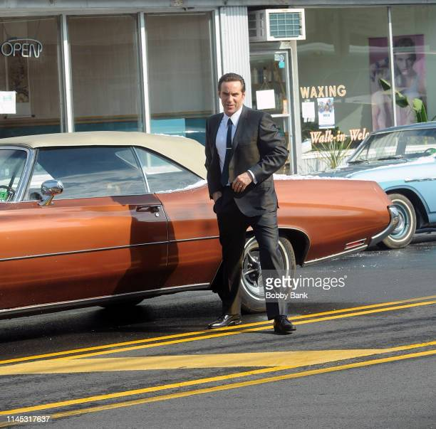 Alessandro Nivola as Dickie Moltisanti on location at Holsten's Ice Cream Parlor site of the Sopranos finale for The Many Saints of Newark on May 20...