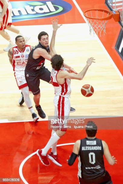 Alessandro Pajola and Alessandro Gentile and Klaudio Ndoja of Segafredo competes with Davide Pascolo and Curtis Jerrells of EA7 during the LBA...