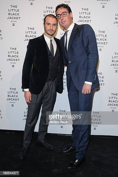 Alessandro Pera and Lorenzo Tonetti attend Chanel The Little Black Jacket Karl Lagerfeld Photography Exhibition Dinner Party on April 4 2013 in Milan...