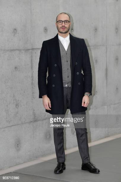 Alessandro Pera arrives at the Giorgio Armani show during Milan Fashion Week Fall/Winter 2018/19 on February 24 2018 in Milan Italy