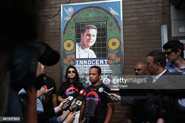 Alessandro Pereira the cousin of Brazilian national Jean Charles de Menezes speaks to the media during a memorial to mark the 10th anniversary of his...