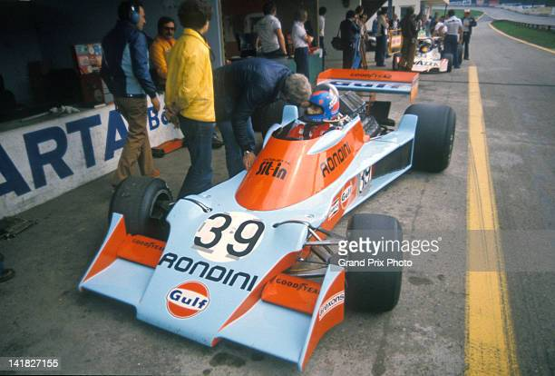 Alessandro PesentiRossi of Italy aboard the Scuderia Gulf Rondini Tyrrell 007 Ford Cosworth DFV V8 in the pits during practice for the Austrian Grand...