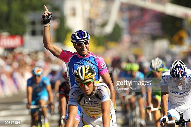 Alessandro Petacchi of Italy and team Lampre crosses the finish line to win stage one of the Tour de France July 4, 2010 in Brussels, Belgium. The...