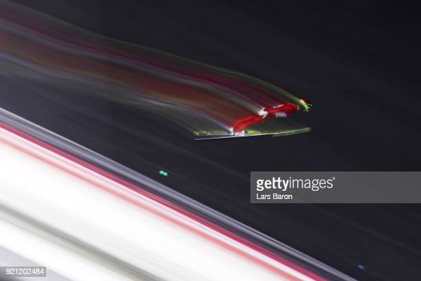 Alessandro Pittin of Italy jumps during the Nordic Combined Individual Gundersen Large Hill Ski Jumping competition round on day eleven of the...