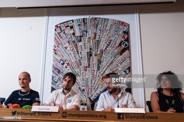 Alessandro PorroNicola StallaFrederic PenardClaudia Lodesani during the press conference of SOS Mediteranee in Rome Italy on August 2 2018