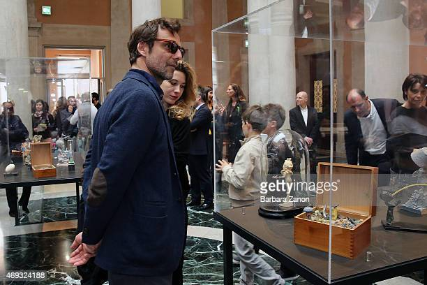 Alessandro Preziosi and Greta CArandini attend the official opening of 'Martial Raysse' exhibition at Palazzo Grassi on April 11 2015 in Venice Italy