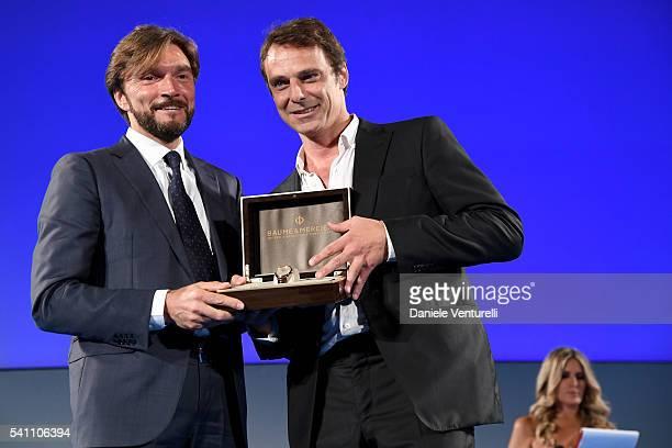 Alessandro Preziosi and Renato Scloza attend Baume Mercier Closing Night 62 Taormina Film Fest on June 18 2016 in Taormina Italy