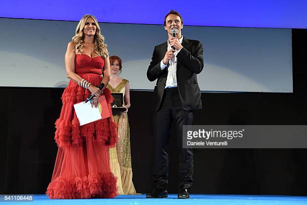 Alessandro Preziosi and Tiziana Rocca attend Baume Mercier Closing Night 62 Taormina Film Fest on June 18 2016 in Taormina Italy