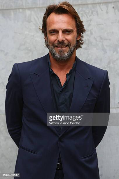 Alessandro Preziosi arrives at the Giorgio Armani show during the Milan Fashion Week Spring/Summer 2016 on September 28 2015 in Milan Italy