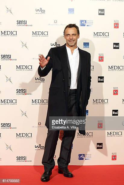 Alessandro Preziosi walks a red carpet for 'I Medici' at Palazzo Vecchio on October 14 2016 in Florence Italy