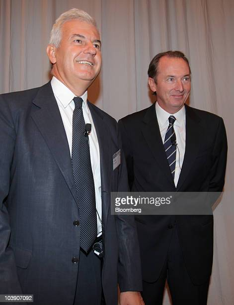 Alessandro Profumo chief executive officer of UniCredit SpA left and James Gorman chief executive officer of Morgan Stanley arrive for the Banks in...