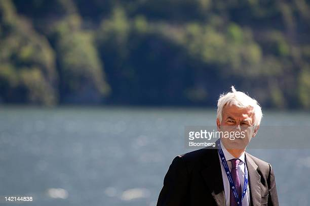 Alessandro Profumo, former chief executive officer of UniCredit SpA, is seen during a session break at the Ambrosetti Workshop in Cernobbio, near...