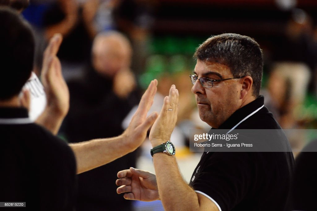 Alessandro Ramagli head coach of Segafredo looks over during the match between Virtus Segafredo Bologna and Leonessa Germani Brescia of the Roberto Ferrari Basketball Trophy at PalaGeorge on September 23, 2017 in Montichiari, Italy.