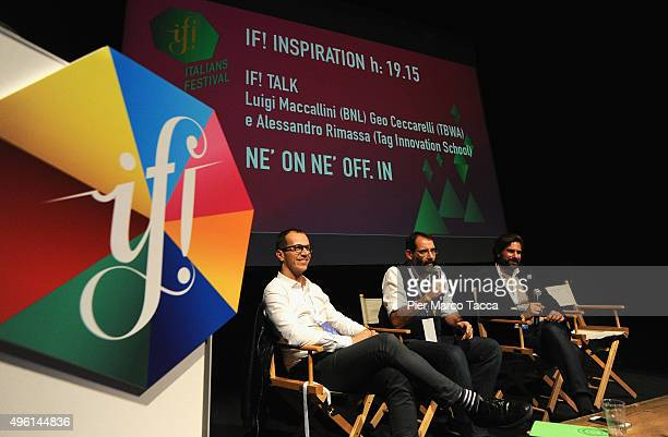 Alessandro Rimassa Luigi Maccallini and Geo Ceccarelli speak on stage at the IF Italians Festival at Franco Parenti Theater on November 7 2015 in...