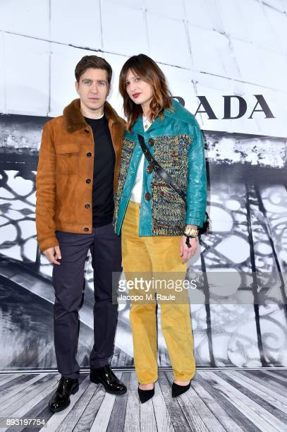 Alessandro Roja and Claudia Ranieri attend the cocktail reception to present Prada Resort 2018 collection on December 14th 2017 in Prada's Via dei...