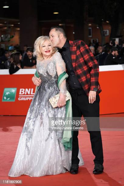 Alessandro Rorato and Sandra Milo attend the Pavarotti red carpet during the 14th Rome Film Festival on October 18 2019 in Rome Italy