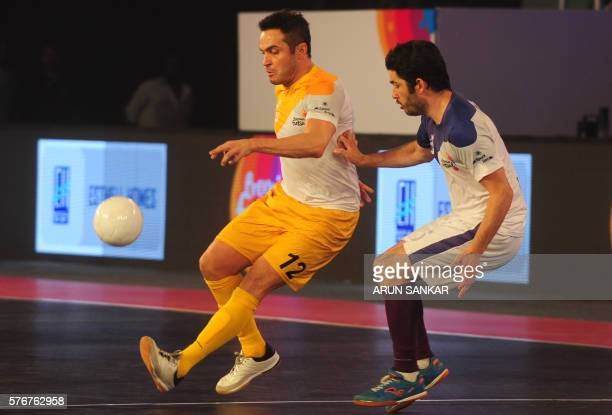 Alessandro Rosa Viera also known Falcao from the Chennai 5's plays against the Kochi 5's Gekabert during their Premier Futsal Football League match...