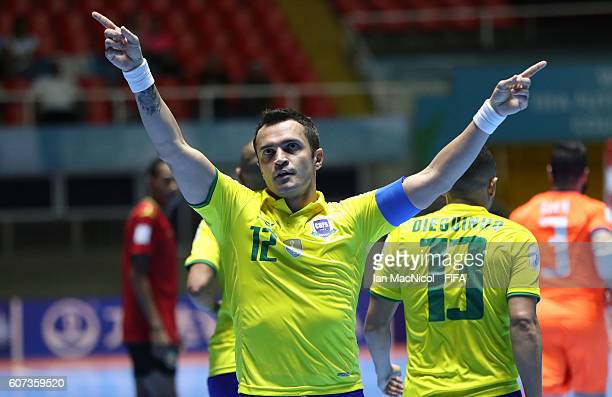 Alessandro Rosa Viera of Brazil celebrates after he scores his second and record breaking goal during the FIFA Futsal World Cup Group D match between...