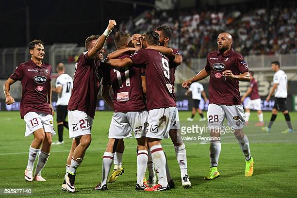 Alessandro Rosina of US Salernitana celebrates after scoring the opening goal with team mates during the Serie B match between AC Spezia and US...