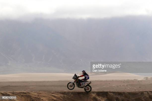 Alessandro Ruoso of Italy and ProMotoRacing rides a 450 KTM bike in the Classe 21 Super Production during stage four of the 2018 Dakar Rally a loop...