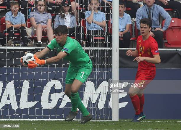 Alessandro Russo of Italy Under 17 during the UEFA Under17 Championship SemiFinal match between Italy U17s against Belgium U17s at New York Stadium...