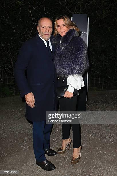 Alessandro Sallusti and Patrizia D'Asburgo Lorena arrive at Fondazione IEO CMM Christmas Charity Dinner at Villa Necchi on December 13 2016 in Milan...