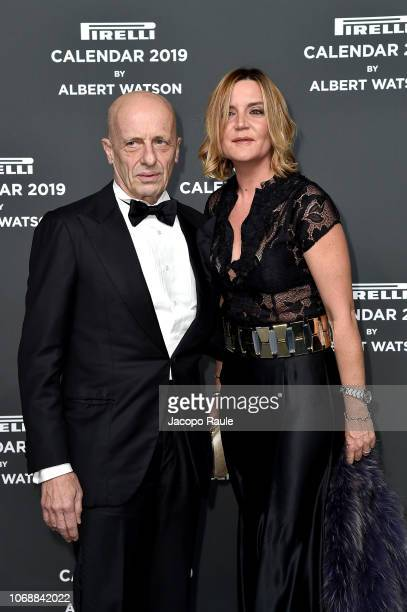 Alessandro Sallusti and Patrizia d'Asburgo Lorena walk the red carpet ahead of the 2019 Pirelli Calendar launch gala at HangarBicocca on December 5...