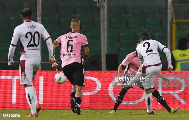 Alessandro Salvi of Cittadella scores his team's third goal during the Serie B match between US Citta' di Palermo and Cittadella at Stadio Renzo...