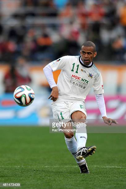 Alessandro Santos of FC Gifu passes the ball during the J League second division match between Ehime FC and FC Gifu at Ningineer Stadium on March 30...
