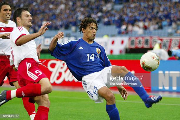Alessandro Santos of Japan in action during the FIFA World Cup Korea/Japan round of 16 match between Japan and Turkey at Miyagi Stadium on June 18...