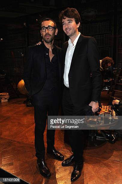 Alessandro Sartori and Antoine Arnault pose during the Berluti Menswear Autumn/Winter 2013 show as part of Paris Fashion Week on January 20 2012 in...